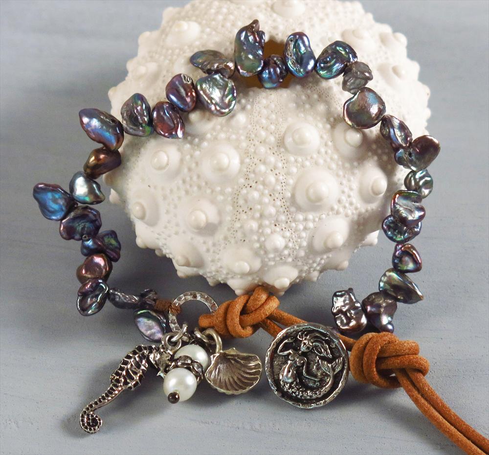 handmade boho blue keishi pearl bracelet handmade jewelry