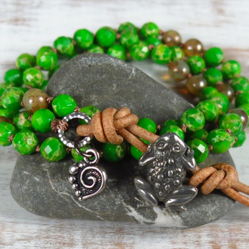 Boho frog bracelet
