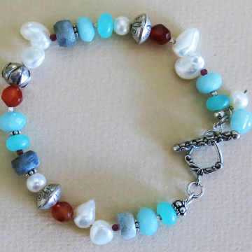 Handmade Pearl and Multi-Gem Bracelet