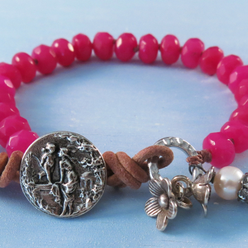 Boho Fuschia Jade Bracelet