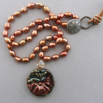 Knotted Orange Pearl Necklace