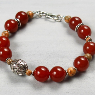 Handmade Carnelian and Bali Silver Bracelet