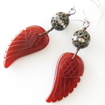 Carnelian Angel Wing Necklace