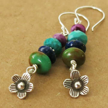 Turquoise Totem Pole Earrings