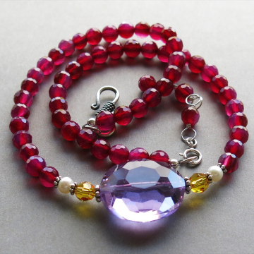 Magenta/Fuschia Agate Necklace