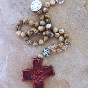 Handmade Boho Southwestern Cross Necklace