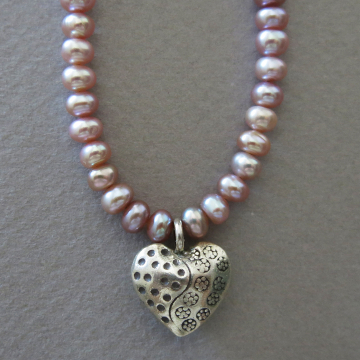 Pearl Necklace with Thai Silver Heart