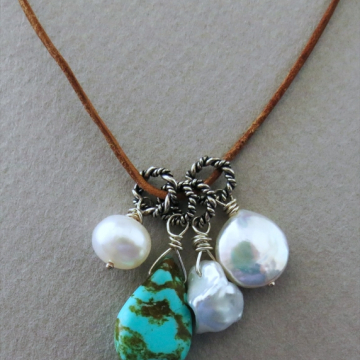 Royston Turquoise (RARE) and Pearl Necklace