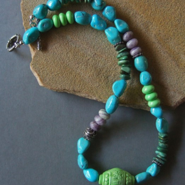 Tibetan Turquoise Necklace with Tibetan Carved Turquoise