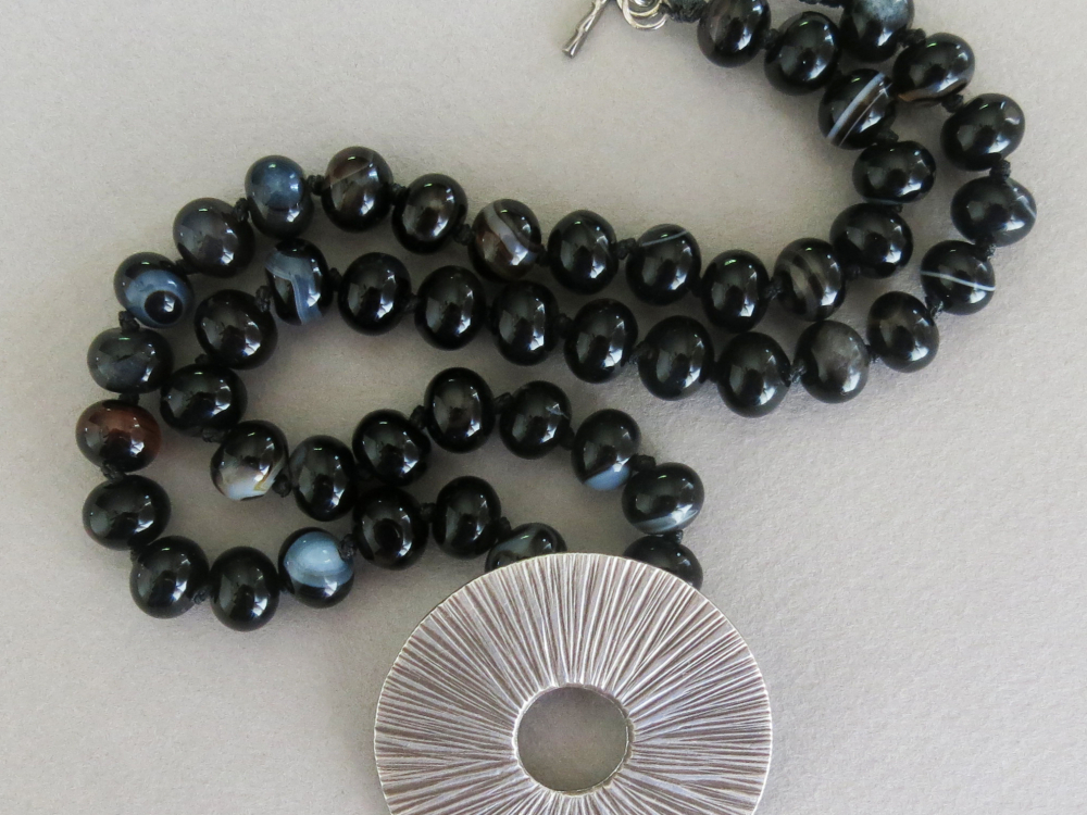 Handmade black agate and Thai silver necklace