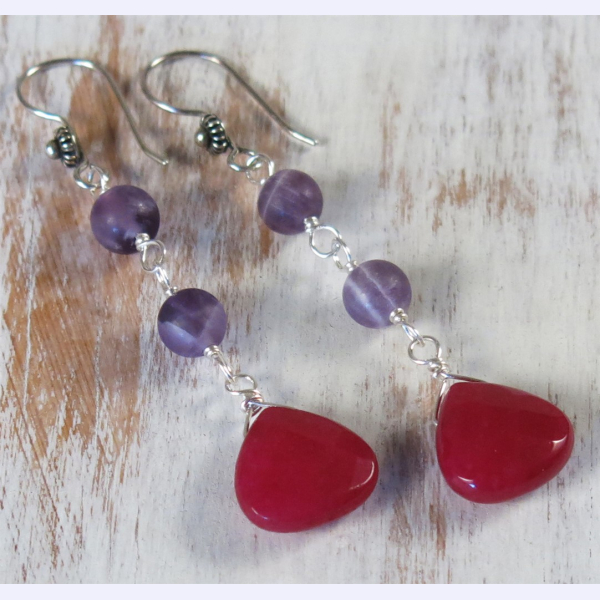 handmade jade and amethyst earrings