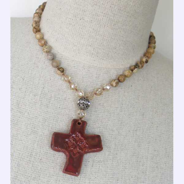 Handmade boho Southwestern cross necklace
