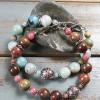 Amazonite and bali silver bracelet