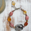 Rhodonite and Carnelian Necklace and Bracelet
