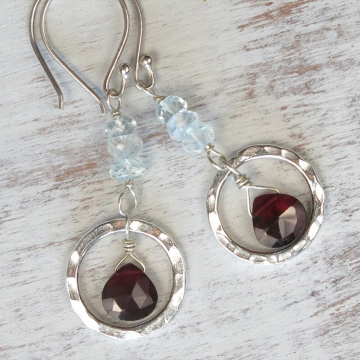 Handmade Rhodolite Garnet Earrings