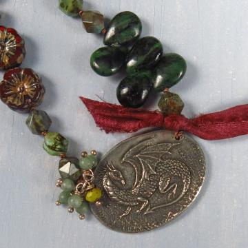 handmade boho dragon necklace