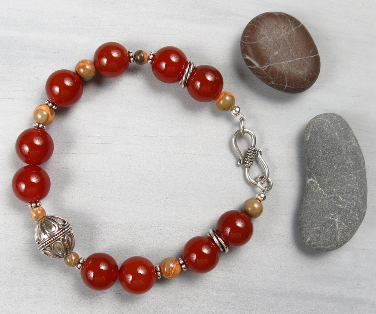 Handmade Carnelian And Bali Silver Bracelet Handmade Jewelry