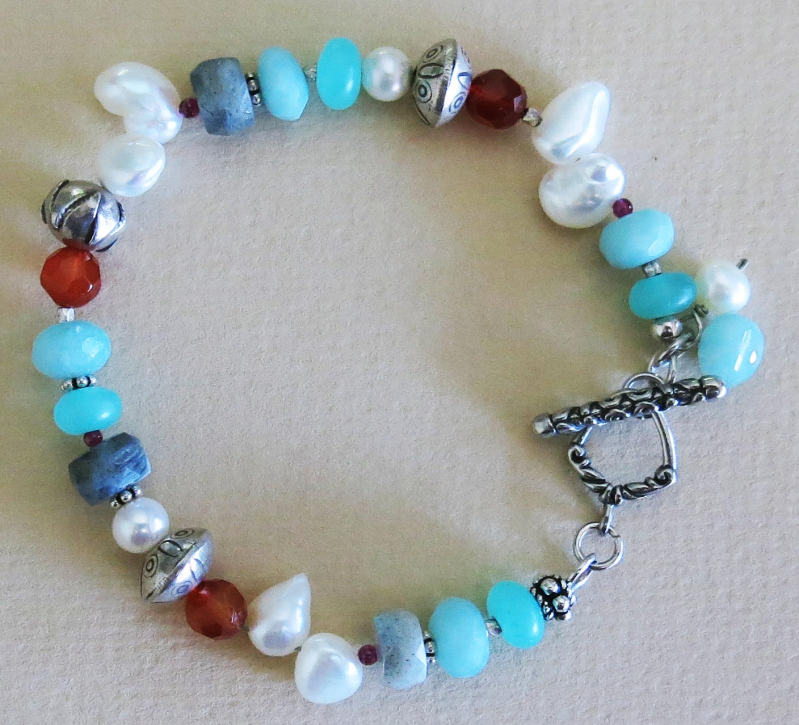 Handmade Pearl And Multi Gem Bracelet Handmade Jewelry