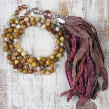 Handmade Silk Sari Tassel and Crazy Lace Agate Necklace