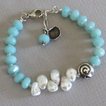 Amazonite and Keishi Pearl Bracelet