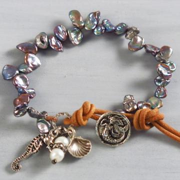 Handmade Boho Blue Keishi Pearl Bracelet