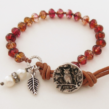 Boho Owl and Czech Bead Bracelet