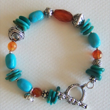 Kingman Turquoise and Carnelian Bracelet