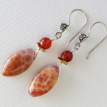 Crab Fire Agate and Carnelian Earrings