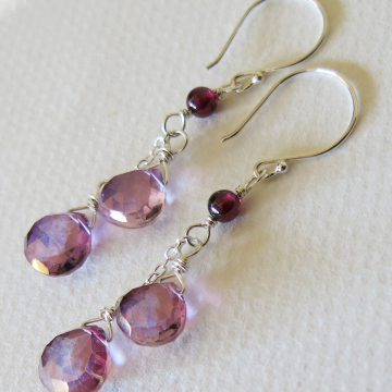 Raspberry Quartz Earrings