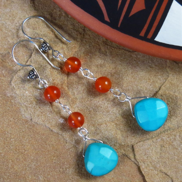 Handmade Turquoise and Carnelian Earrings