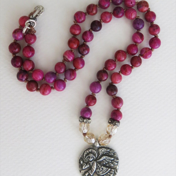 Guardian angel Boho knotted necklace