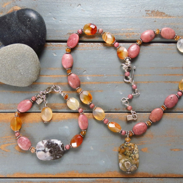 Handmade Rhodonite and Carnelian Necklace and Bracelet