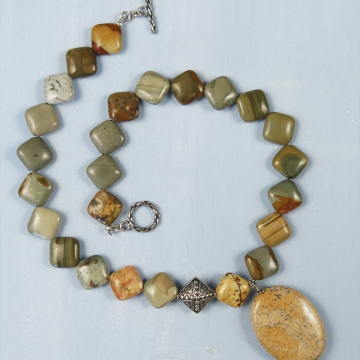 Handmade Rocky Butte Jasper Necklace (RARE)